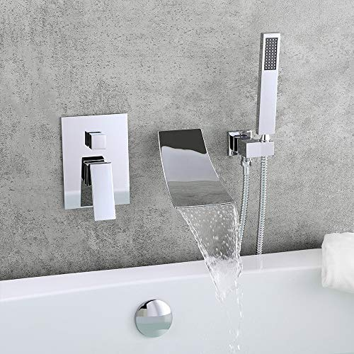 KunMai Waterfall Wall-Mount Tub Faucet with Handheld Shower,Chrome Waterfall Spout Bathtub Faucet with Hand Shower Solid Brass Wall Mount Tub Filler Faucet for Bathroom