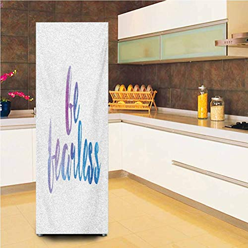 Customized Door Fridge Sticker Closet Cover,Be Fearless Text Expression in Watercolor Style with Smooth Color Changes Vinyl Door Cover Refrigerator Stickers,24x70',for Home Decor,Lilac White and Blue