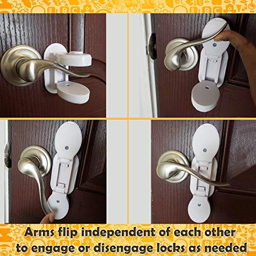 Baby Proofing Door L   ever Locks - (Pack of 4) | Door Handle Child Safety Lock | Safety Door Locks for Kids