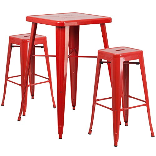 Flash Furniture 23.75'' Square Red Metal Indoor-Outdoor Bar Table Set with 2 Square Seat Backless Stools