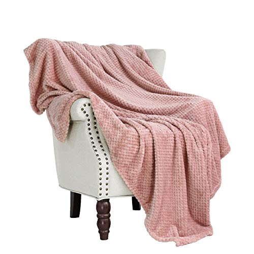 Exclusivo Mezcla Waffle Textured Soft Fleece Blanket, Large Throw Blanket(Dusty Pink, 50 x 70 inches)- Cozy, Warm and Lightweight