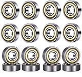 HonLena 608 ZZ Kugellager, 20 Pack 8mm x 22mm x 7mm Metall Double Shielded Miniatur Rillenkugellager für Skateboard Roller Inline Skates