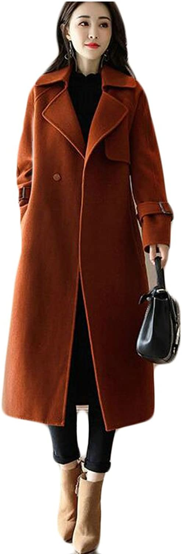 GAGA Women's Warm Classic Slim Fit LongSleeves Lapel Trench Coat