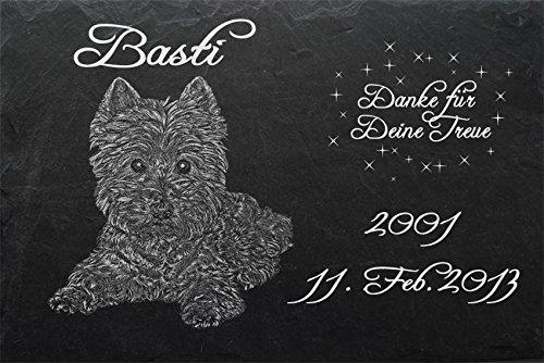 """Schiefertafel mit wetterfester Lasergravur des Motives """"Hund-028"""" West Highland Terrier Westi (mit dem Musterbild oder Ihrem eigenen Foto - siehe Auswahl) und Ihrem Text/Daten in der gewünschten Schriftart z.B. als Grabstein auf das Grab oder als Ged"""