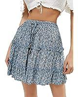 VNDFLAG Women's Summer Skirt High Waist Ruffle Hem Flower Printed A-line Mini Skirt Blue S