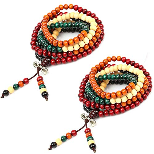 Hantier 2 Pack 8mm Multicolor Tibetano 108 Cuentas Buda Budista Collar Pulsera, Pulsera Budista de Los Granos del Rezo del Sándalo, Meditación Collar de Piedra