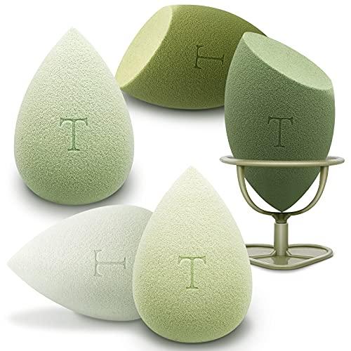 Makeup Sponges Beauty Sponge Blender - 5 Pcs - Soft & Non Latex - Beauty Foundation Blending Sponge with 1 Holder - Makeup Blender Sponge Set for Liquid, Cream, Powder (Green)