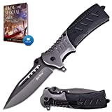 Pocket Knife Spring Assisted Folding Knives - Military EDC USMC Tactical Jack Knifes - Best Camping Hunting Fishing Hiking Survival Knofe - Travel Accessories Gear Boy Scout Knife Gifts for Men 6783