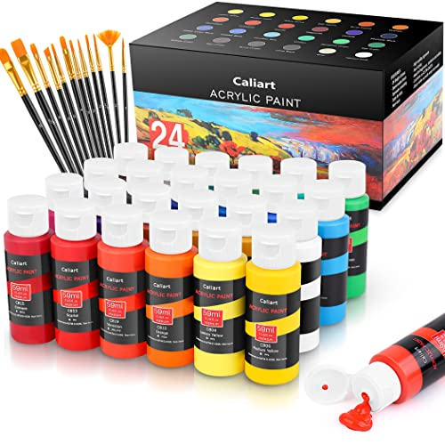 Caliart Acrylic Paint Set with 12 Brushes for Canvas Ceramic Wood Halloween Pumpkin Rock Painting, Craft Acrylic Paints Supplies for Artists Students Kids Beginners, Classic Colors, 59ml/2oz, 24-Pack