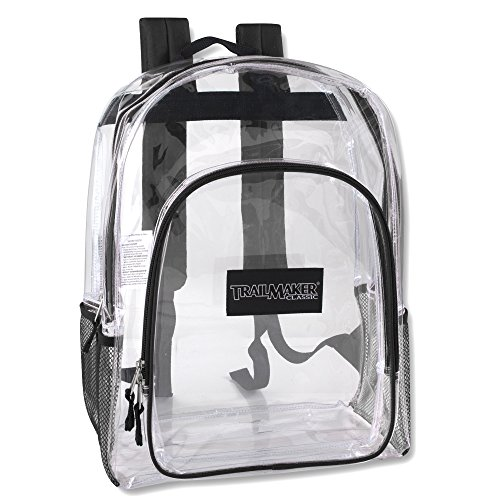 Deluxe Clear Backpack With Reinforced Straps For School, Security, and Sporting Events (Black)
