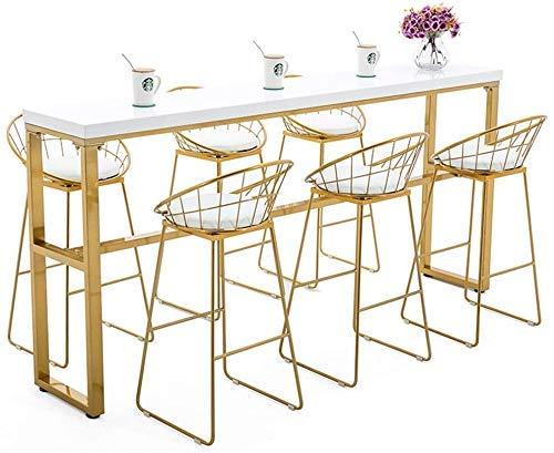 Haushaltsprodukte Stühle Frühstück Esszimmer Nordic Bar Stuhl Schmiedeeisen Cafe High Hocker 30 Zoll mit Metall gebogene Rückenlehne und Lederkissen Moderner minimalistischer Stil mit rutschfester