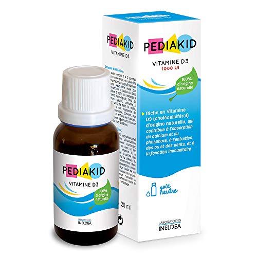 Pediakid - Vitamina D3 100% di origine naturale, rafforzamento delle difese naturali, fin dalla nascita, copre il 200% degli apporti giornalieri consigliati