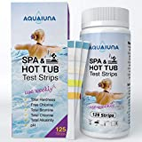 AQUALUNA Test Strips for Hot Tub and Spa- 125 ct - Quick and Accurate Testing for Water Total Hardness, Free Chlorine/Bromine, Total Chlorine, Alkalinity, and pH- Maintain Water Quality.