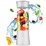 Portable Blender for Shakes and Smoothies - Personal Blender with Rechargeable USB, 6 Blades, 13 Oz Travel Cup and Lid, White