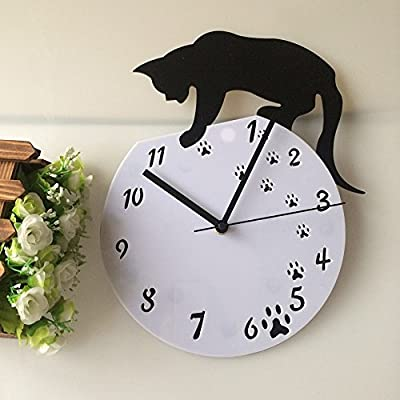 Imoerjia Creative Wall Clock_Living Room Silent Clock Up Clock Top Cat Watches Acrylic Craft Stylish and