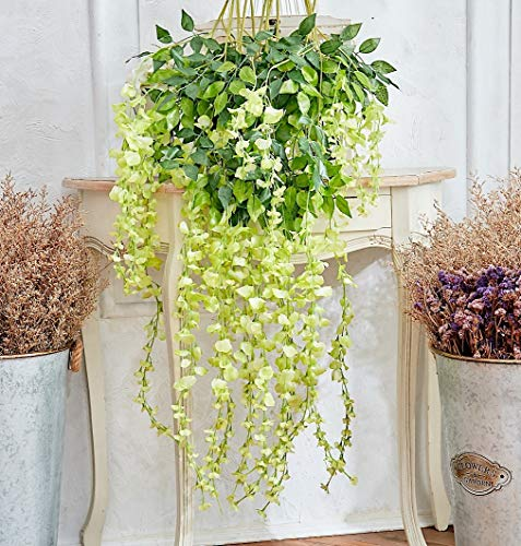 MsBloom Artificial Wisteria Vine - 12-Pack 3.6 Feet Spring Hanging Flowers Decor, Silk Plants Garlands for Sweet Home Kitchen Wall, Fake Plant Rattan for Outdoor Wedding Party Desk Decorations (Green)