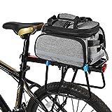 Bike Back Pannier Fahrrad-Rücksitz-Tasche Fahrradträger Einkaufstasche Rennrad Aufbewahrungstasche 12 Zoll, grau