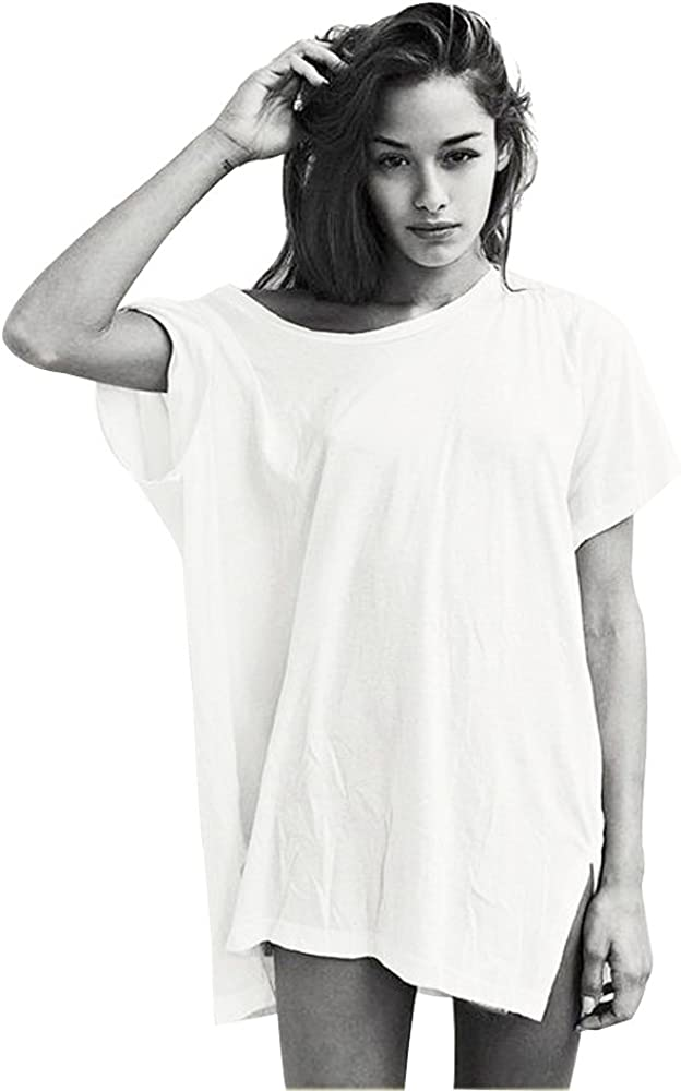 Germinate Long T Shirts Dress Women Casual Trendy Beach Cute White Black Loose Baggy Tees Tunic Tops Plus Size Oversized