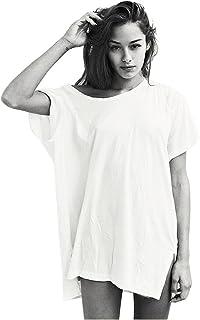 Germinate Lunghe T Shirts Donna Estive Bianco Nero Sexy Cotone Eleganti Larga Larghi Magliette Tuniche Top Taglie Forti Ov...