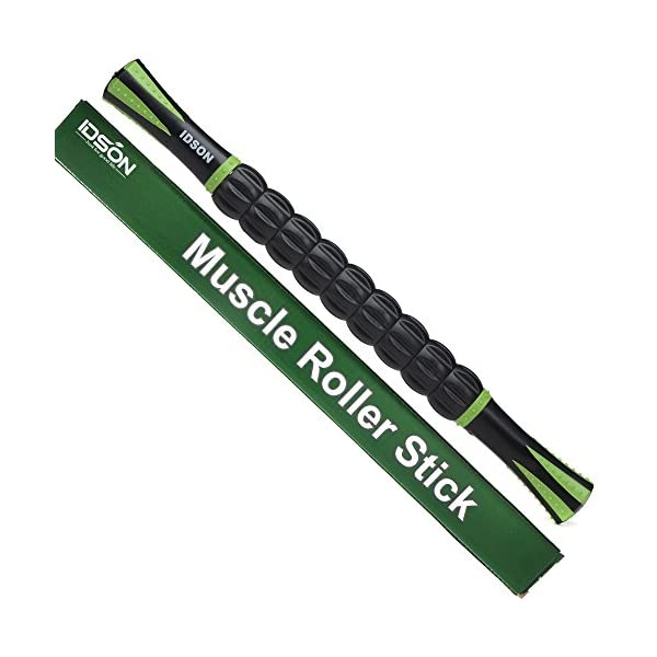 Idson Muscle Roller Stick for Athletes- Body Massage Sticks Tools-Muscle Roller Massager for Relief Muscle Soreness,Cramping and Tightness,Help Legs and Back Recovery,Black Green