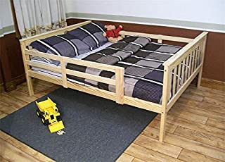DutchCrafters Amish Kids Full Size Bed Frame with Safety Rails Mission Style, Unfinished Pine