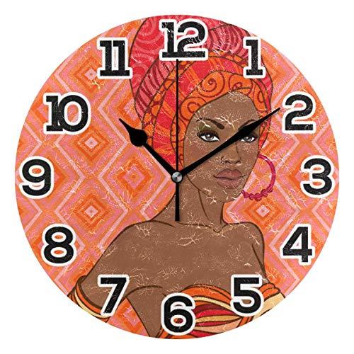 Reloj de pared Mujeres negras africanas Pintura Gemeotric Reloj de acrílico redondo Negro Números grandes Reloj silencioso sin tictac Pintura decorativa Reloj con pilas para la biblioteca del hotel de