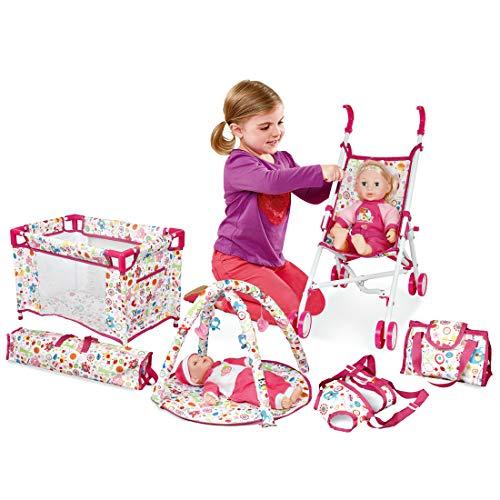 deAO 5-in-1-Rollenspiel Deluxe-Spielset für Babypuppen mit Spielmatte, Reisebett, Babytrage, Kinderwagen und Reisetasche (Puppe Nicht enthalten)
