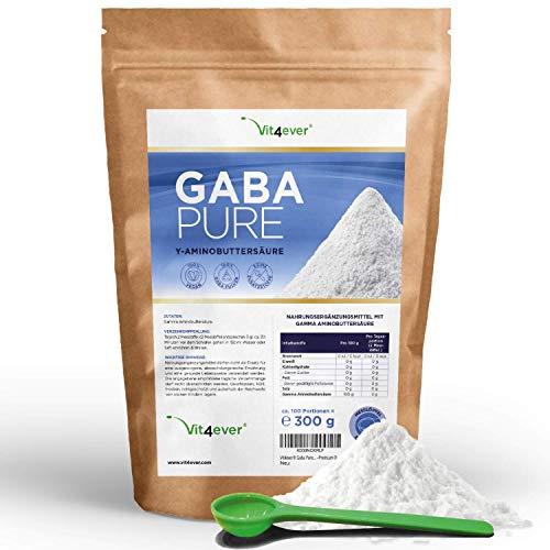 Gaba Pure - 300 g reines Pulver ohne Zusätze - Laborgerpüft - 100% Gamma-Aminobuttersäure - 100 Portionen - Vegan - Premium Qualität