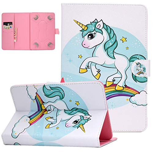 UGOcase 9.5-10.5 Inch Universal Case, Premium PU Leather Cute Folio Stand Case Cash Pocket for iPad 9.7/iPad Air 1 2/Galaxy Tab A 10.1 S4 10.5/Tab E 9.6/ Fire HD 10/Google, and More, Rainbow Unicorn