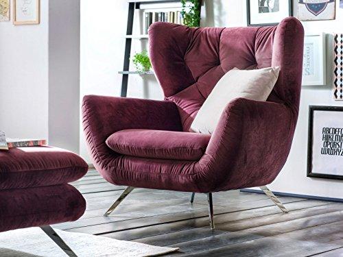 Designer Chesterfield Ohren-Sessel Sixty Velvet Velour-Stoff Candy Armlehnen-Sessel Sofa 3C Polstersessel, hohe Rückenlehne