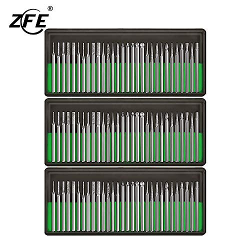 ZFE Diamond Burr Bits Drill Kit For Engraving Carving Rotary Tool- 1/8'(3mm) Shank Pack of 90Pcs/ 3 Sets
