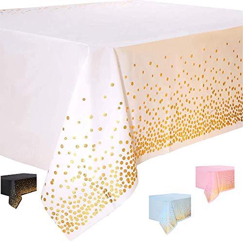 DIWULI, große Tischdecke weiß, Tafeldecke 273 x 137 cm rechteckig, Tafeltuch Punkte gold, einweg Tischwäsche, Kunststoff-Tischdecke abwaschbar Kinder-Geburtstag, Mädchen Junge, Motto-Party, Dekoration