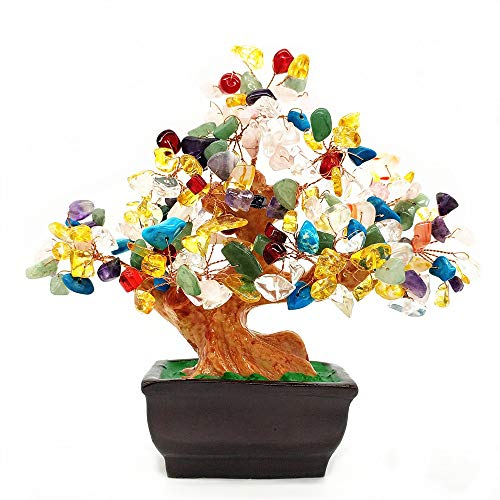 Colorsheng Feng Shui Quartz Crystal Money Tree Bonsai Style Decoration for Luck and Wealth (Multicolor)