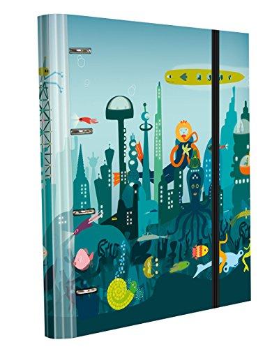 Edima School Kits - Carpeta de 4 anillas con gomas + 120 hojas, multicolor, diseño Cuidad Submarina