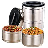 IAMGlobal 2 Tier Thermal Stainless Steel Lunch Bento Box, Stackable Insulated Food Container, Food...