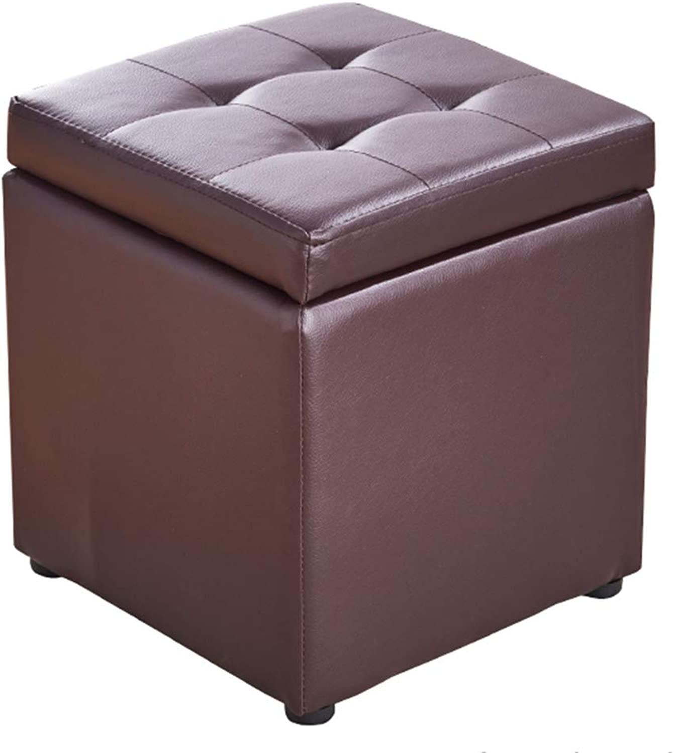 ZXQZ Stool Household Leather Sofa Stool 40x40x40cm Solid Wood Storage Stool shoes Bench Variety of color Optional (color   Brown)
