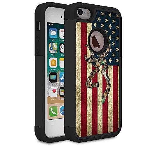Funda para iPhone 5S, iPhone SE, iPhone 5, diseño de bandera americana de camuflaje Rossy con absorción de golpes de doble capa de PC dura y silicona suave resistente para Apple iPhone 5S/SE/5