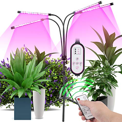 Plant Grow Light with Stand Stand Tripod Adjusted 11-63 in, Four-Head Full-Spectrum Floor Plant Light, 40W LED 9 Kinds of dimmable Plant Light, Suitable for Indoor Plants, Control Timer Remote