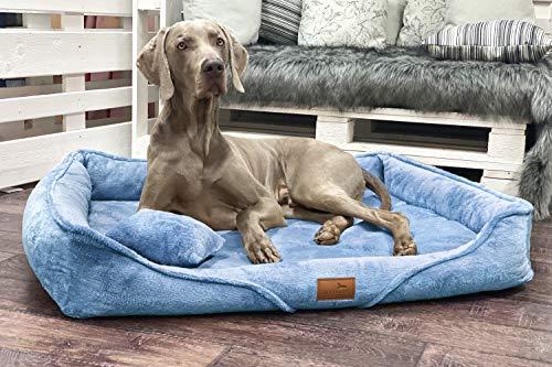 tierlando® Orthopädisches Hundebett Tyson | Kuscheliges und Flauschiges XXL Hundesofa | Waschbar | Memory Foam L+ | Hellblau
