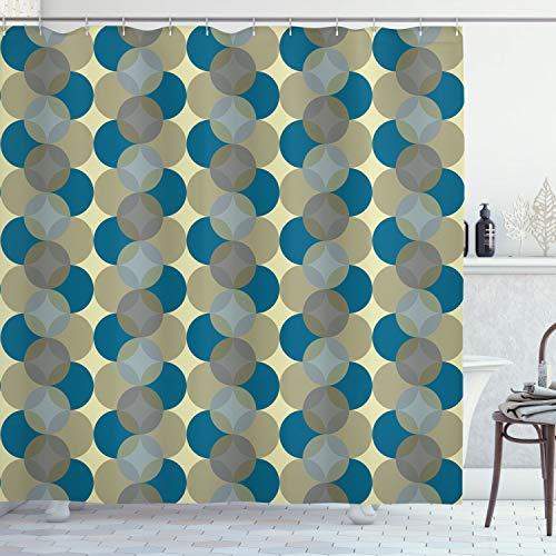 Lunarable Kreis Duschvorhang, Blume des Lebens, Vintage Fifties Midcentury Atomic Art Movement inspiriert, Stoff Stoff Badezimmer Dekor Set mit Haken, 190,5 cm lang, meerblau