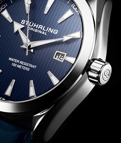 Stuhrling Original - Montre Homme - Cadran Analogique - Date - Bracelet en Cuir de Veau ou en Acier...
