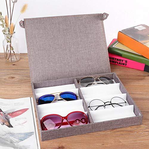 MUY Sonnenbrillen 8 Slots Brille Aufbewahrung Sonnenbrillen Display Schmuckbehälter Fall Organizer mit Knopf Kontaktlinsen Zubehör