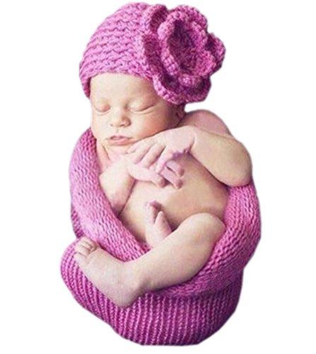 DELEY Bébé de Filles de Fleur Pourpre Chapeau Sac de Couchage de Prise de Vue Photo Posant des Accessoires de 0 à 6 Mois
