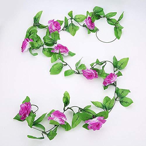 KIPB 250CM Silk Roses Ivy Vine with Green Leaves for Home Wedding Decoration Fake Leaf DIY Hanging Garland Artificial Flowers PurpleRed
