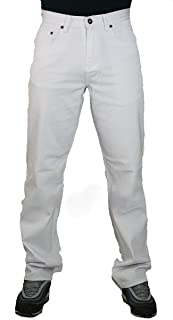 Peviani Mens White Jeans, Comfort g fit Straight fit Urban Star wash Trousers, Pants, Cotton Denim Relaxed