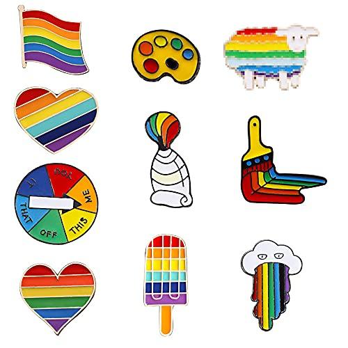 10 Stück Homosexuell Stolz Pin,Regenbogen Flagge Broschen, Regenbogen Emaille Pins Anstecknadeln, Für Pullover, Schals, Schals, Kleider, Anzüge, Taschen, Rucksäcke