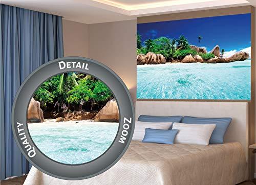 GREAT ART XXL Poster – Insel im Paradiesischen Kristallklaren Wasser – Wanddekoration Strand Natur Sonne Meer Deko Wandbild Wohnzimmer Strand Motiv Dekoration Fotoposter (140 x 100 cm)