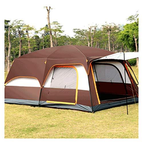 YSJJYQZ Tenda da Campeggio Tenda con Due camere da Letto e One-Living Leisure Camping Double-Decker Oversized 5-8 Persone Aspettata Tenda Antipioggia (Color : Brown)