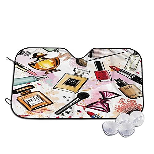 Parasol para Coche,Colección de cosméticos y perfumes de acuarel,Parabrisas de prevención de Calor Parasol Protector de Visera de Rayos UV 55'X29.9'