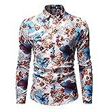 Camisa Ajustada de Moda para Hombre Camisa con Botones de Manga Larga con Estampado Floral para Trabajo de Oficina, Eventos Formales e Informales 3XL
